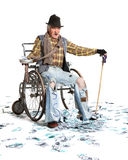 Homeless man with a lot of money Royalty Free Stock Photos