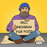 Homeless man with paper sign pop art vector Royalty Free Stock Images