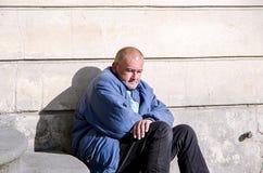 Homeless man in Prague Stock Images