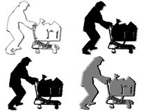 Homeless Man Pushing Shopping Cart. A clip art illustration featuring your choice of 4 homeless man figures pushing shopping carts in various outlines Royalty Free Stock Image