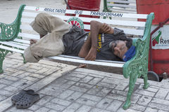 Homeless man resting in Mexico Royalty Free Stock Image