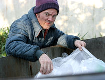 Homeless Man - Roots In Dumpster. A homeless man rooting in a dumpster for food royalty free stock photography