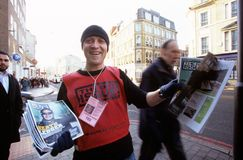 Homeless man selling The Big Issue, London Stock Photography