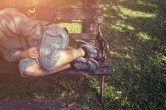 Homeless man sleep in the park Stock Photography