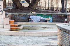 Homeless man sleeping peacefully on wooden bench Royalty Free Stock Photo