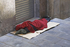 Homeless man sleeping rough Royalty Free Stock Photos