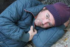 Homeless Man - Soulful Eyes. A closeup portrait of a homeless man royalty free stock images