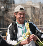 Working homeless man Royalty Free Stock Photo