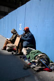 Homeless in Manhattan. Two homeless people in Manhattan stock images