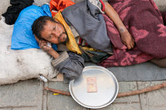 Homeless in Nepal Royalty Free Stock Image