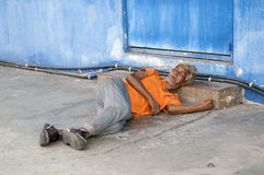 Homeless old beggar. Old beggar go to bed every day here (homeless Royalty Free Stock Photos