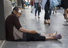 Homeless old woman beggar Royalty Free Stock Photo