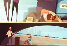 Homeless People Banners. With sleeping person at street and men getting warm under bridge  vector illustration Royalty Free Stock Images