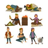 Homeless people, beggars and bum vagrants vector flat isolated icons. Homeless people, beggars or bum vagrants in poverty. Woman begging alms money, man in rags Royalty Free Stock Photography