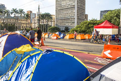 Homeless people camped Stock Image