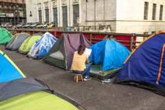 Homeless people camped Stock Images
