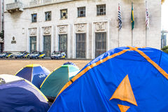 Homeless people camped Stock Photography