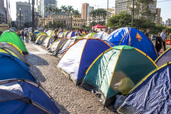 Homeless people camped Royalty Free Stock Photography