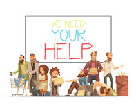 Homeless People Cartoon Style Illustration. Homeless people including kids needing help and white board with inscription cartoon and retro styles vector Stock Photography