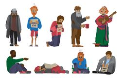 Homeless people characters cadger set unemployment men needing help bums and hobos stray vector illustrations. Homeless people characters set unemployment men Royalty Free Stock Image