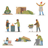Homeless people characters set. Unemployment men needing help vector illustrations Stock Images