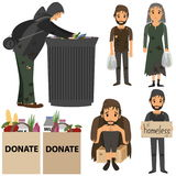 Homeless people collection. Homeless in street. Homeless in trash. Shaggy mans in dirty rags in street and trash. Doanation bags for Homeless people.  Vector Royalty Free Stock Images