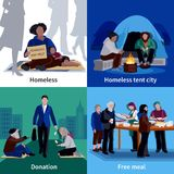 Homeless People 2x2 Design Concept. With hungry beggar sitting on sidewalk man making donation free meal flat vector illustration Stock Photography