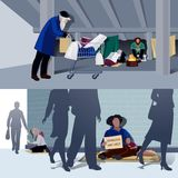 Homeless People Flat Compositions Royalty Free Stock Photography