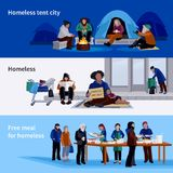 Homeless People Horizontal Banners Royalty Free Stock Images