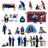 Homeless People Icons Set Stock Images