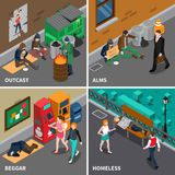 Homeless People Isometric Design Concept Royalty Free Stock Photography