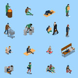 Homeless People Isometric Set. With beggars needy and disabled persons tramps on blue background isolated vector illustration Stock Image