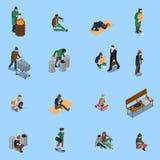 Homeless People Isometric Set Stock Image