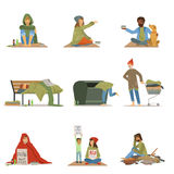 Homeless people set. Men, women, children needing help vector illustrations Royalty Free Stock Image