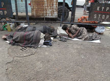 Homeless people sleeping on the footpath of Kolkata Stock Photos