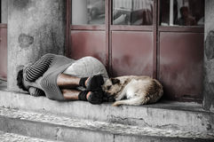 Homeless. People sleeping on the street Stock Image