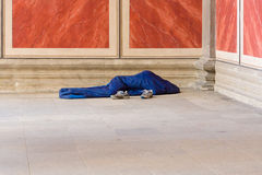 Homeless people sleeping at the walls Altes Museum Royalty Free Stock Photos