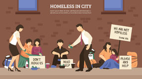 Homeless People Town Composition. With homeless in city headline and different people who live on the street vector illustration Stock Photos