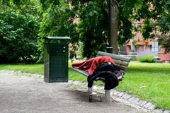 Homeless person in park. Royalty Free Stock Photography