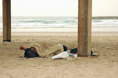 Homeless person sleeping on beach. Homeless person sleeping on winter beach royalty free stock image