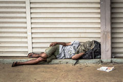 Homeless Person Sleeping Royalty Free Stock Photos
