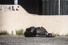Homeless Person Sleeping Royalty Free Stock Photography