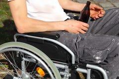 Homeless person in a wheelchair Stock Photos