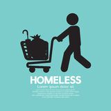 Homeless With Possessions Cart Symbol. Royalty Free Stock Photo