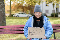 Homeless or poverty stricken elderly lady. Sitting on a park bench in the cold autumn weather holding a cardboard sign asking for Help Stock Images