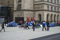 Homeless protesters camp out in St Peter's Square, manchester UK. Homeless protesters camp out in front of the Central Library in St Peter's Square, manchester Royalty Free Stock Photos