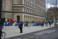 Homeless protesters camp out in St Peter's Square, manchester UK. Homeless protesters camp out in front of the Central Library in St Peter's Square, Manchester Royalty Free Stock Images