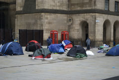 Homeless protesters camp out in St Peter's Square, manchester UK. Homeless protesters camp out in front of the Central Library in St Peter's Square, Manchester Stock Photography