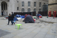 Homeless protesters camp out in St Peter's Square, manchester UK. Homeless protesters camp out in front of the Central Library in St Peter's Square, Manchester Stock Images