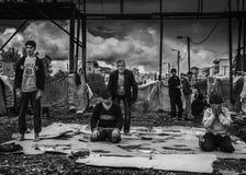 Homeless refugee in Greece Stock Photo